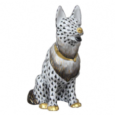 Herend Porcelain Fishnet Figurine of a Dog Sitting - German Shepherd